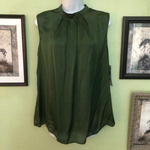 Elementz Chive Green Satin like Sleeveless Blouse